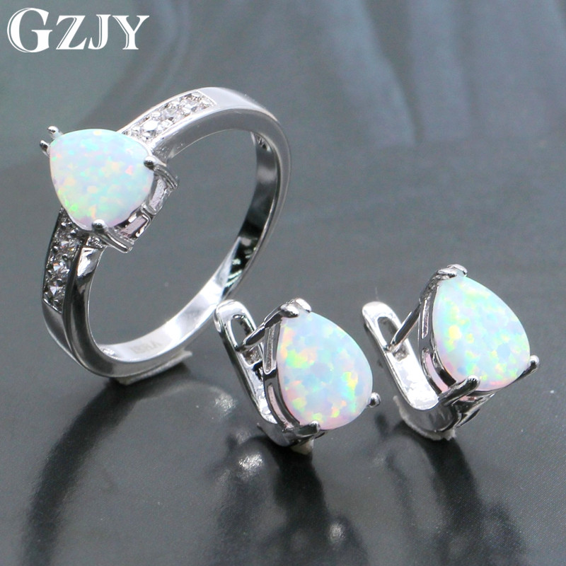 GZJY Fashion Jewelry Sets White Teardrop Fire Opal White Gold Color Earrings Ring Set For Women Wedding Engagement Jewelry
