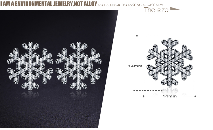 Beagloer 2017 Fashion 925 Sterling Silver Snowflake Stud Earrings For Women Fine Jewelry Gift PSER0030-B