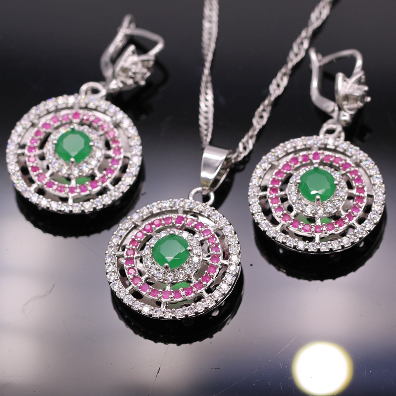 GZJY Exquisite Party White Gold Color Green&Red Zircon Round Pendant Necklace Earrings Jewelry Set For Women Wedding Jewelry