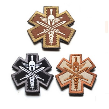 100 piece a lot Field Medic patch 3D Spartan Medic Tactical Embroidered Patch Cloth Fashion Badges Military EMT Morale Badge