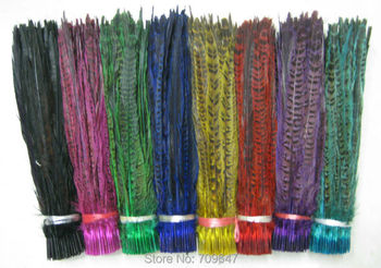 "200Pcs/Lot/Colour,12-14""30-35cm Dyed Hen Ringneck Tails,wholesale Hen Ringneck Pheasant Tail Feathers ping"