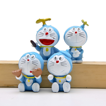 4pcs/lot Cute Doraemon Figures Toys Mini Doraemon Classic PVC Action Figure Toys Micro Landscape Collection Model Toy Decoration