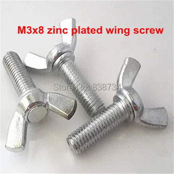 50pcs m3*8mm butterfly screw steel with white zinc coated wing screw thumb screw