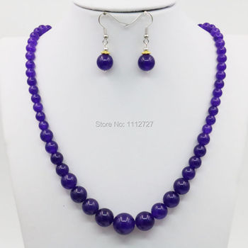 6-14mm Tower Necklace Chain Earring Sets Purple Chalcedone Crystal Semi Finished Stone Balls 15inch Beads Jewelry Gift Accessory