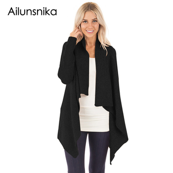 Ailunsnika New Casual trenchcoat 2017 Autumn Women Loose Knit Waterfall Cardigan Long Sleeve Irregular Sweater Coat DL27732