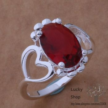 AR358 925 sterling silver ring, 925 silver fashion jewelry, Double heart with redstone /bwkaknra fucaolja