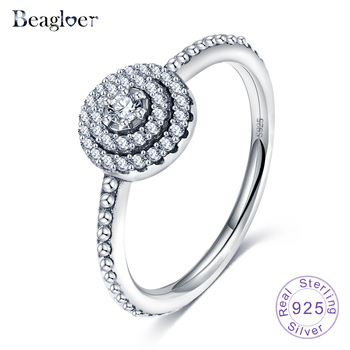 Beagloer Authentic 925 Sterling Silver Rings Sparkling Wedding Ring With Clear CZ For Women Compatible Jewelry PSRI0006