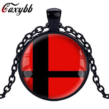 Caxybb brand 1PC Super Smash Bros Ball red and Black Pendant Glass Round silver necklace for men women gift choker Jewelry CN433