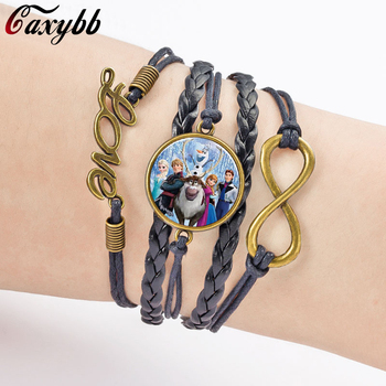 Caxybb Snow Queen Elsa and Anna Princess fashion Glass Bracelet Leather rope weaving bracelet Girl jewelry gift 6 colors B-L146