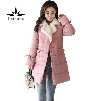 Leiouna Parka New Winter Padded Coat Women Outerwear Long Thickening Warm Female Wadded Nylon Quilted Jacket Casaco