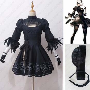 Oyun NieR Otomata 2B tam set Cosplay Kostüm Tailor Made
