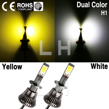 Pair H1 Car DRL Fog Driving LED Light Bulbs White Ice Blue / White Blue / White Yellow Amber 80W super brigher 12V Dual Color