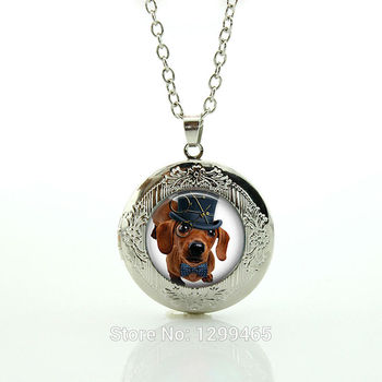 Steam punk Dachshund necklace - Dog in Top Hat - Dog jewelry - Handcrafted Pendant Necklace glass Cabochon locket pendants N779