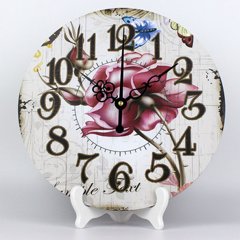 Wholesale fashion 3d flowers wall decoration watch beautiful mute table desk clocks bedroom decorunique weeding decoration gift
